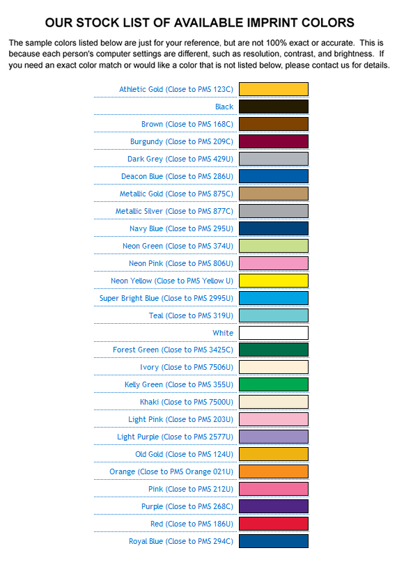 Stock Imprint Colors