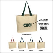 Cotton Canvas Tote Bag With Colored Handles - Blank